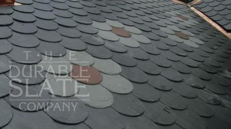 colored slate tile in a hexagonal pattern