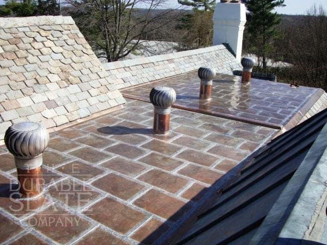 top down example of a copper flat lock roof with lead-free solder seams