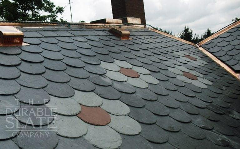 Kitzmiller is a new slate roof in rural Ohio - it's North Country Black with Vermont Unfading Green and Red accents.