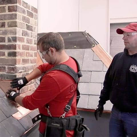 durable slate employee learns chimney flashing