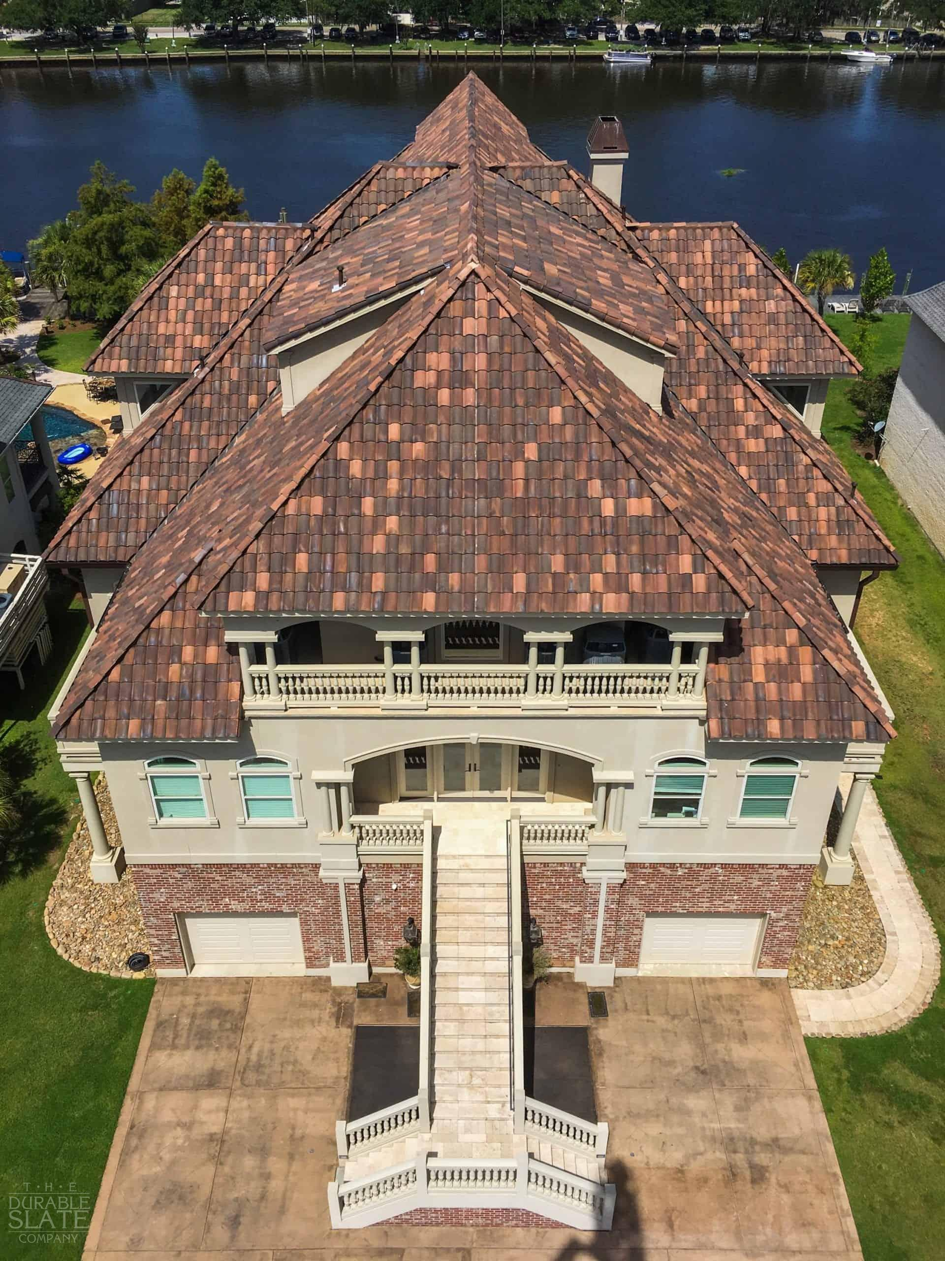 clay roofing tiles as seen from drone above