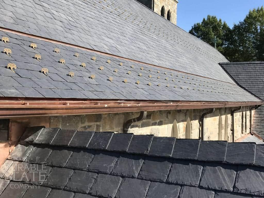 repaired slate roof on all saints church in chevy chase maryland, using buckingham slate