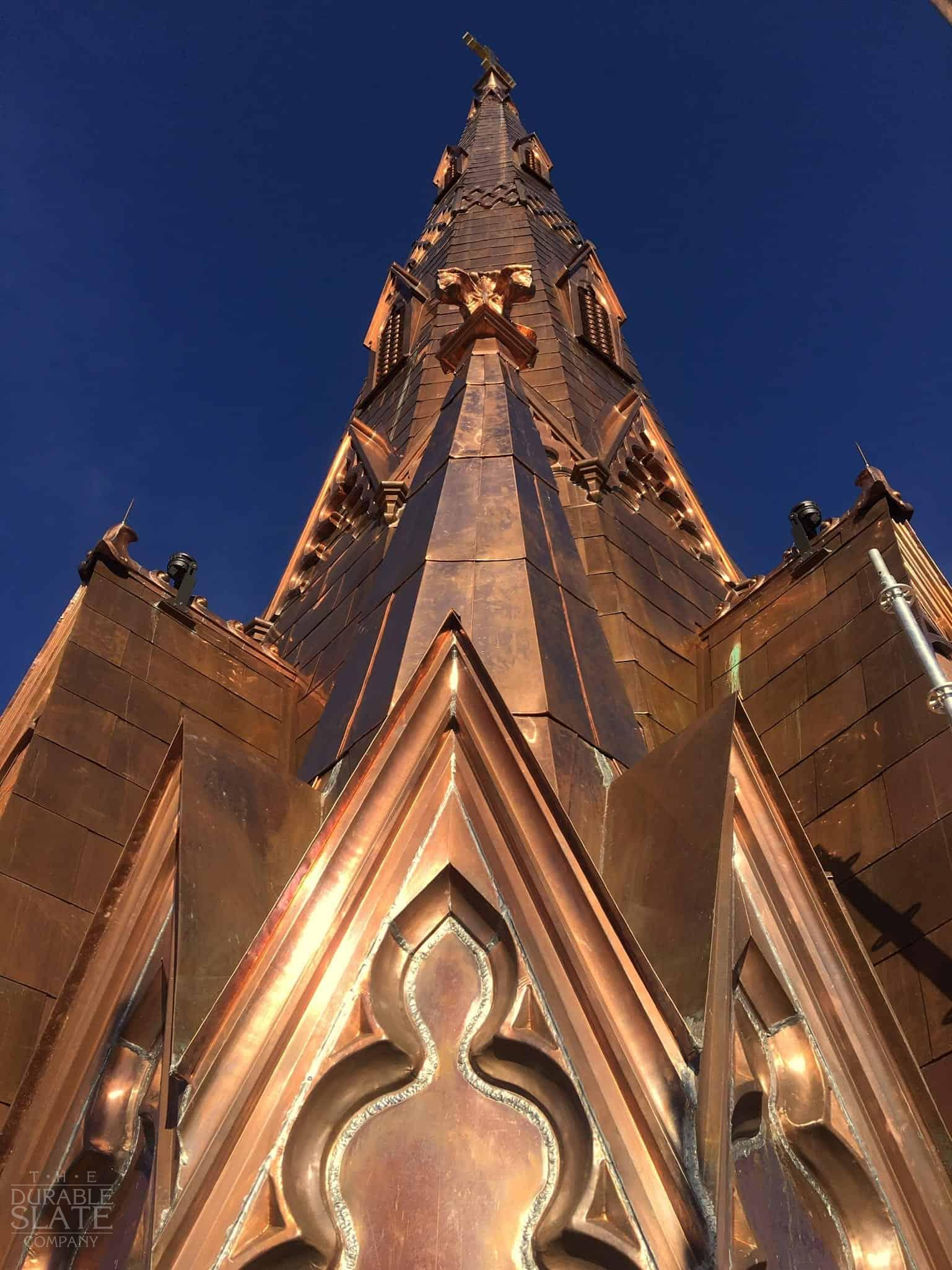 Steeple Square, Dubuque, IA copper spire as seen from below