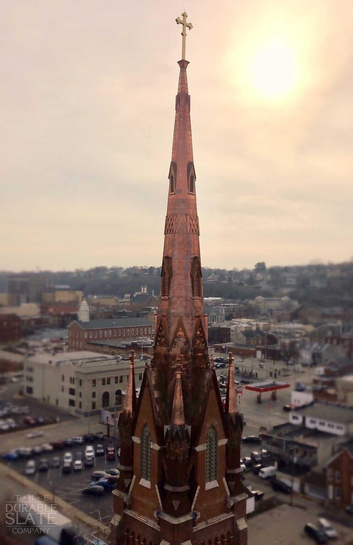 Steeple Square, Dubuque, IA drone footage with sun in the background